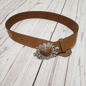 Brighton Belt  with heart buckle leather brown 34